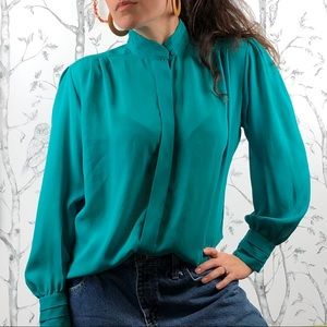 Vintage 80s sheer covered placket secretary blouse